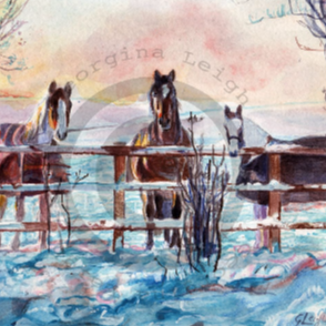 'Winter Waiting' Watercolour. Prints available. See Prints>Horses in the tabs above.