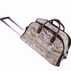Globe Pattern Trolley Duffle Bag With Wheels
