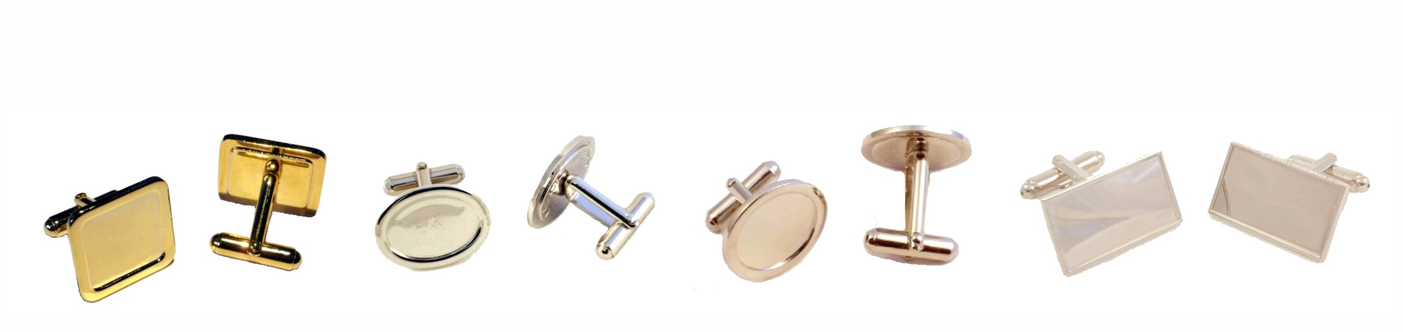 Cufflink Blanks with Clear Domes.