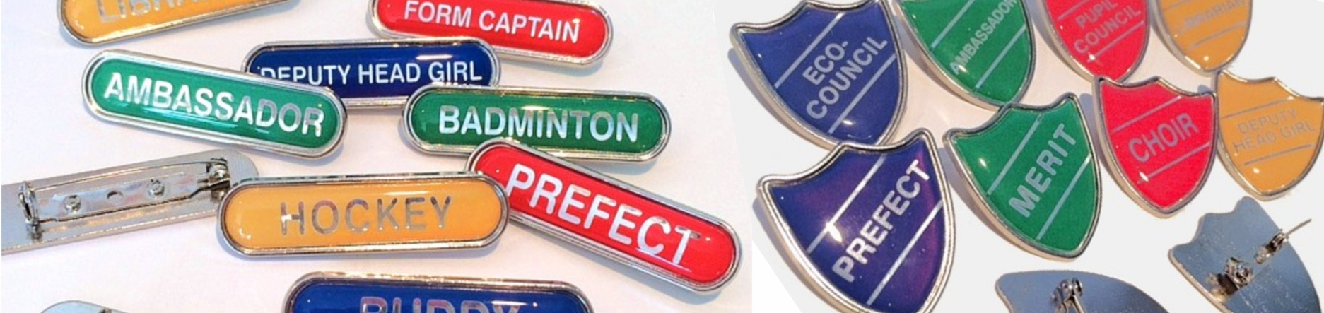 School Badges in bar and shield shapes. 80 titles stocked.